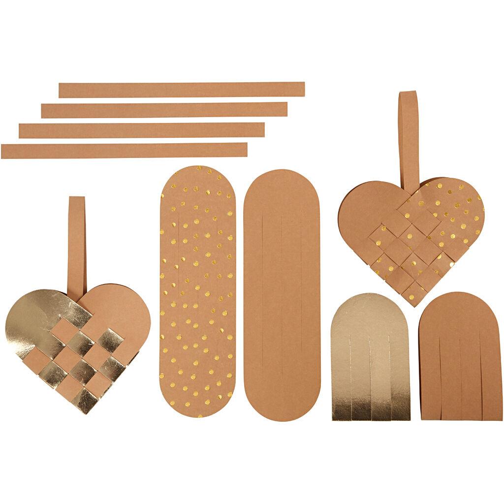 Creativ Company Coeurs en papier imitation cuir, ép. 0,55 mm, naturel, or, 1 set