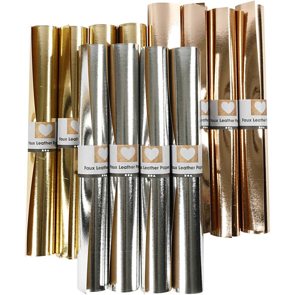 Creativ Company Papier imitation cuir, L: 49 cm, ép. 0,55 mm, unicolor,film, or, rose or, argent, 12x1 m/ 1 Pq.