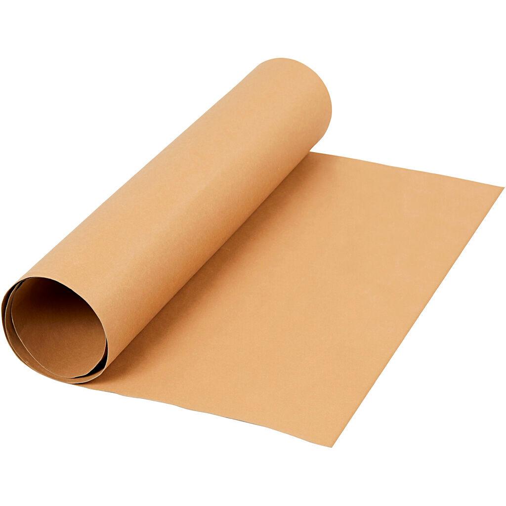Creativ Company Papier imitation cuir, L: 50 cm, unicolor, 350 gr, brun clair, 1 m/ 1 rouleau