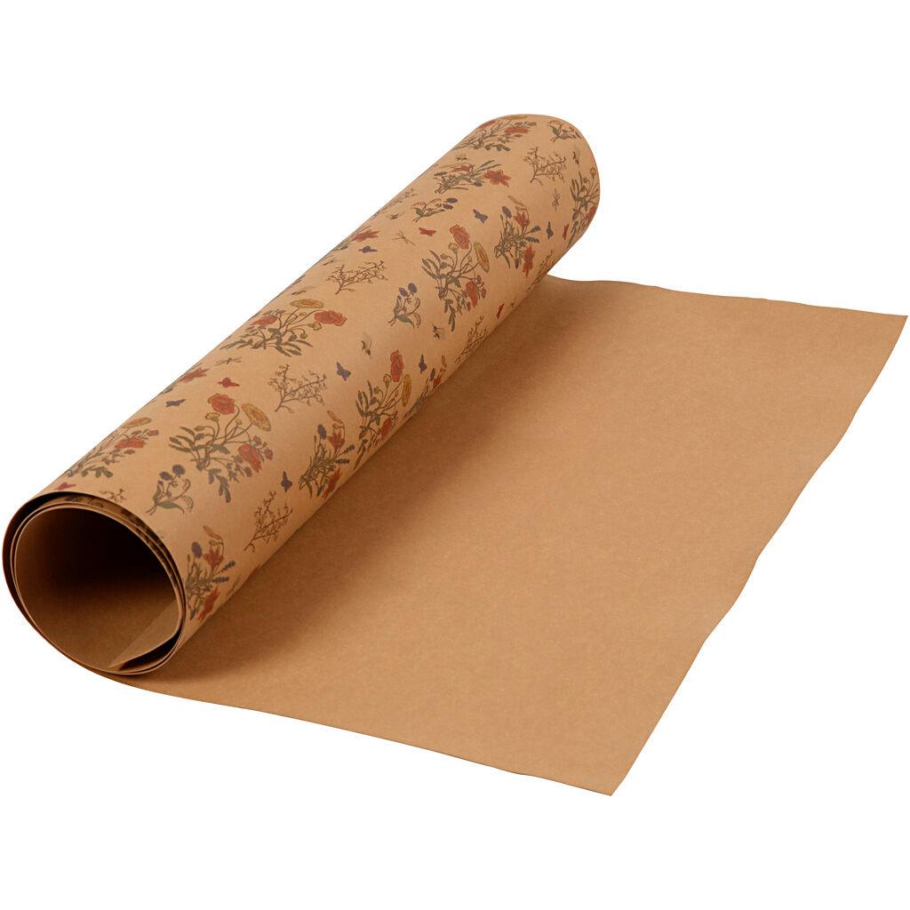 Creativ Company Papier Imitation Cuir, L: 49,5 cm, Unicolor,imprimé, 350 gr, Brun Clair, 1 M, 1 Rouleau