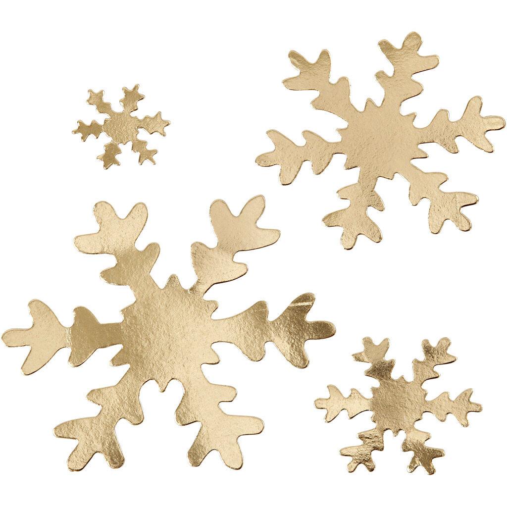 Creativ Company Flocon de neige, d: 3+5+8+10 cm, 350 gr, or, 16 pièce/ 1 Pq.