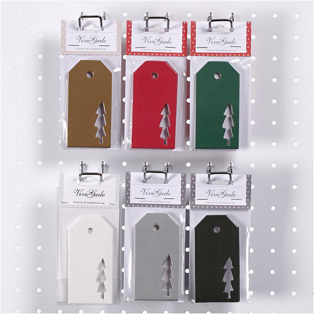 ViviGade Étiquettes, Arbre de Noël, dim. 5x10 cm, 300 gr, 6x10 Pq./ 1 boîte