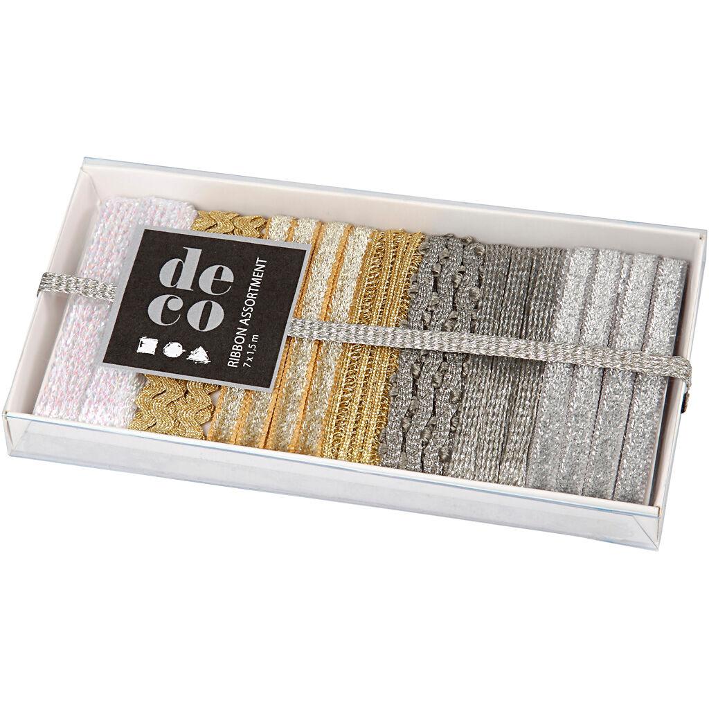 Creativ Company Ruban décoratif, L: 5-10 mm, or, argent, blanc, 7x1,5 m/ 1 Pq.
