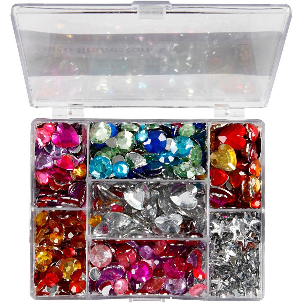 Creativ Company Pierres de strass en boîte, cercle, étoile, coeur, d: 6+7+9+10+11+12+14+16 mm, bleu, rose, argent, 300 pièce/ 1 Pq.