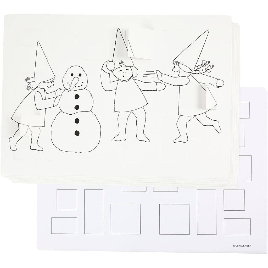 Creativ Company Calendrier de l'Avent décoré de lutins faisant une bataille de boules de neige, A3, 30 pièce/ 1 Pq.