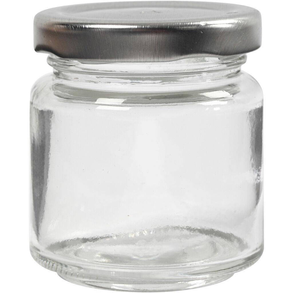 Creativ Company Pot en verre, H: 6,5 cm, d: 5,7 cm, 100 ml, transparent, 12 pièce/ 1 boîte