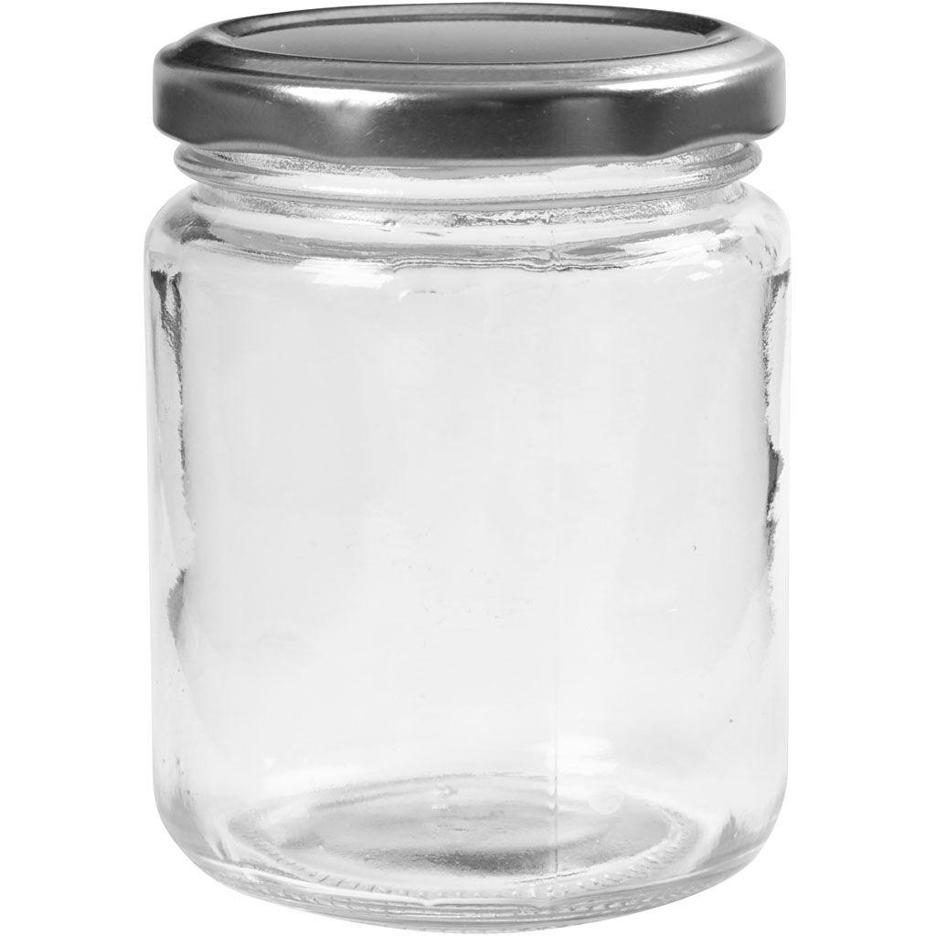 Creativ Company Pot en verre, H: 9,1 cm, d: 6,8 cm, 240 ml, transparent, 12 pièce/ 1 boîte