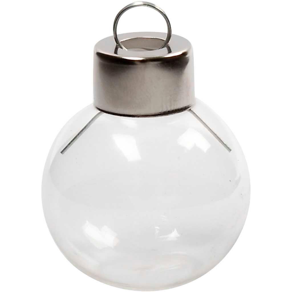 Creativ Company Boule en verre avec fond plat, H: 4 cm, d: 3,5 cm, transparent, 12 pièce/ 1 Pq.