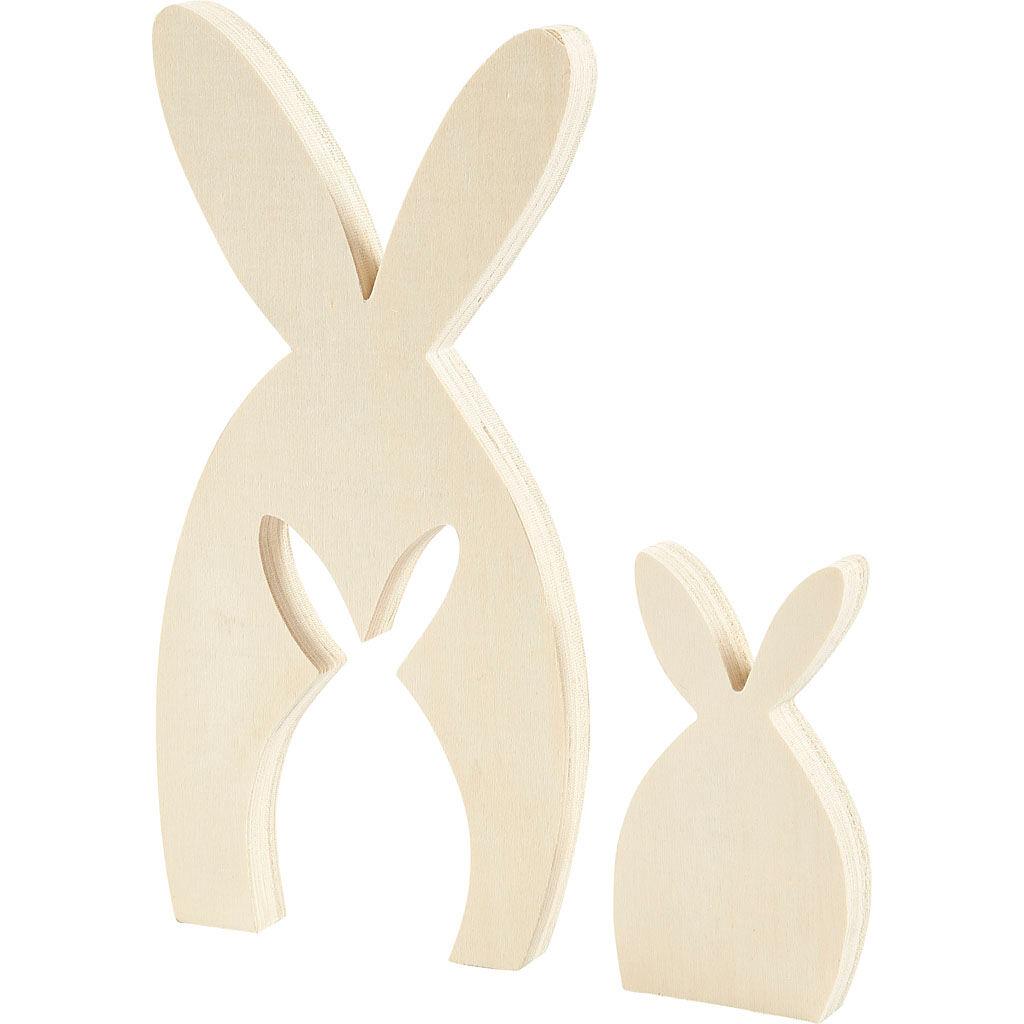 Creativ Company Figurine 2 en 1, Lapins, H: 11,5+24,5 cm, prof. 2 cm, L: 6,5+11,5 cm, 1 set