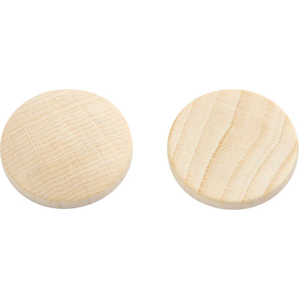 Creativ Company Boutons en bois, d: 25 mm, ép. 5 mm, 150 pièce/ 1 Pq.