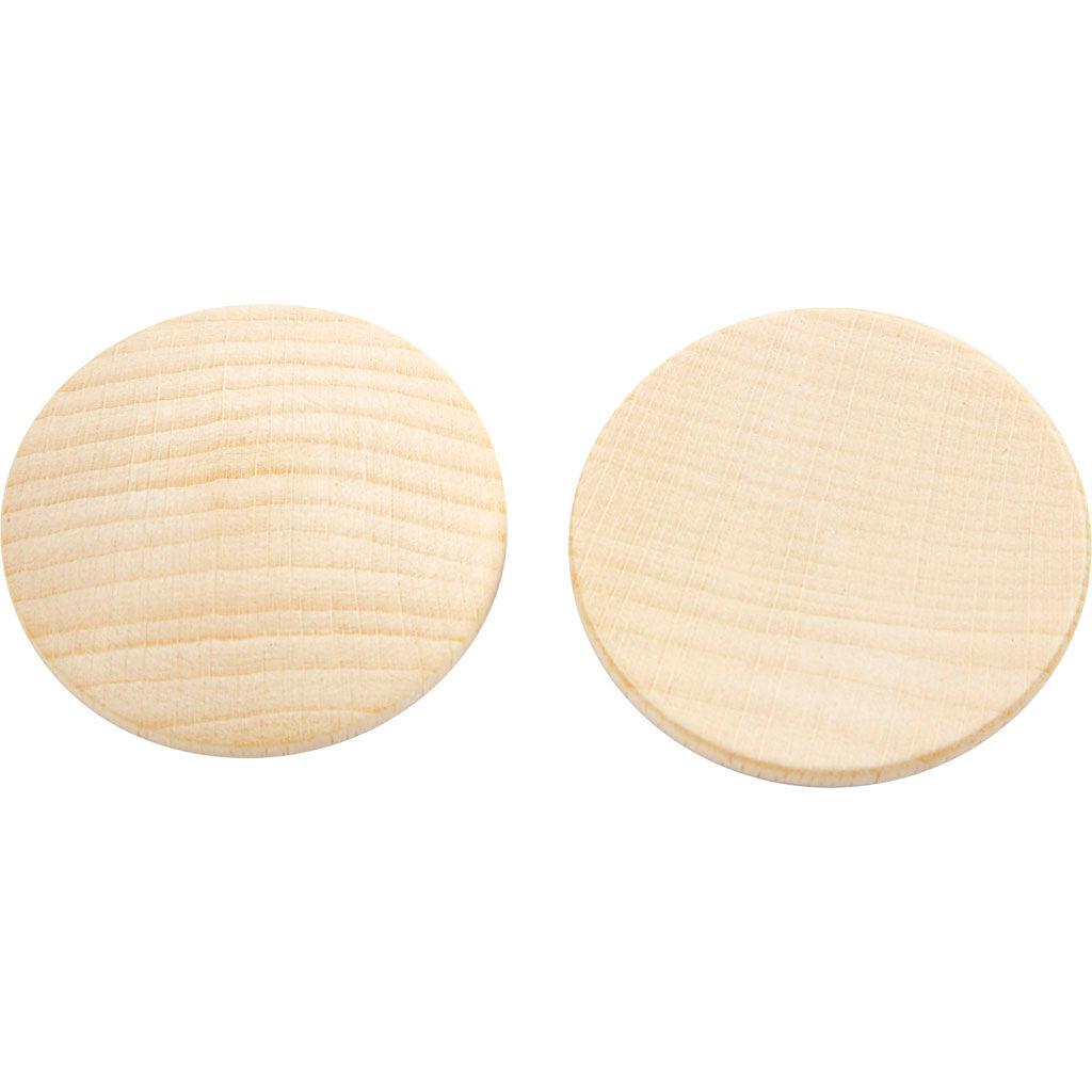 Creativ Company Boutons en bois, d: 40 mm, ép. 5,2 mm, 100 pièce/ 1 Pq.