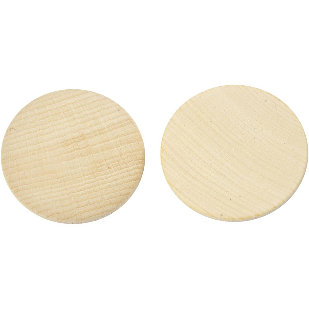Creativ Company Boutons en bois, d: 50 mm, ép. 10 mm, 50 pièce/ 1 Pq.