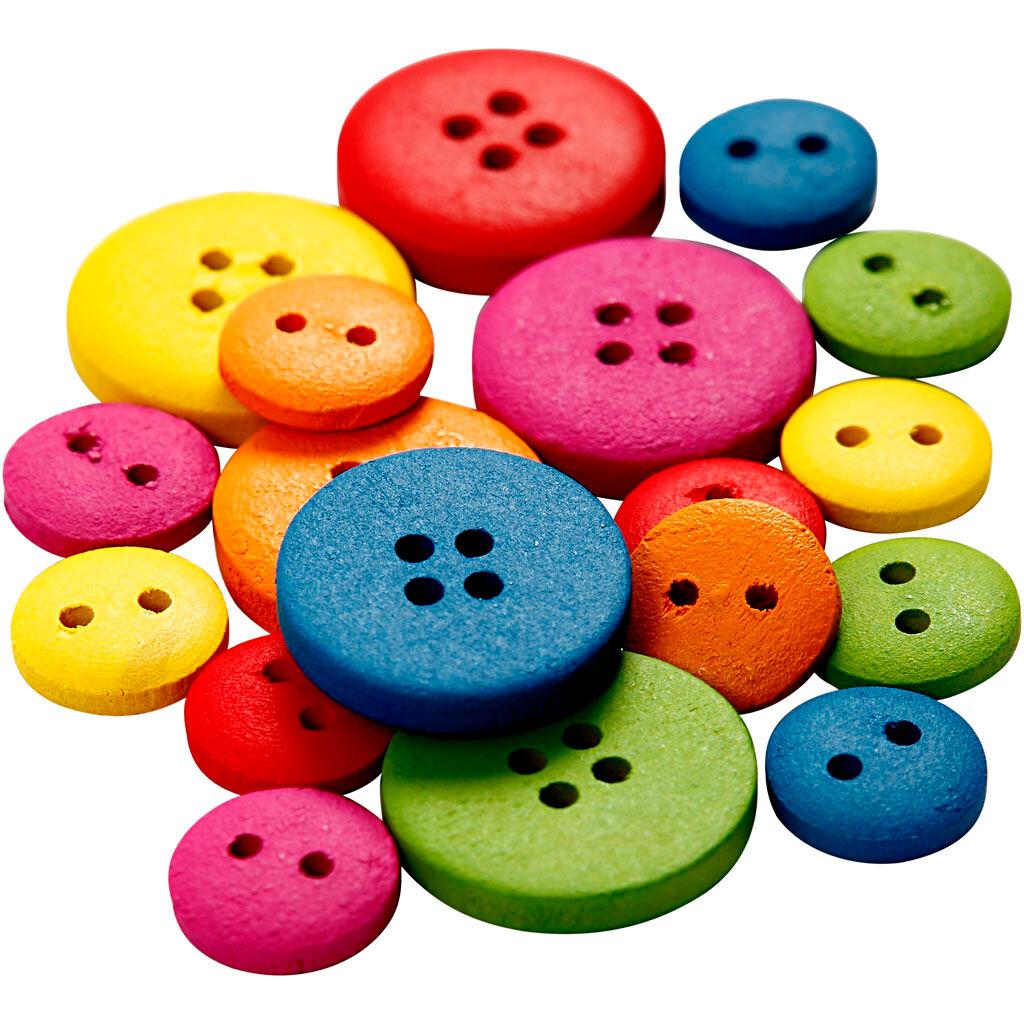 Creativ Company Boutons en bois, d: 12-20 mm, 2-4 trous, couleurs assorties, 360 pièce/ 1 Pq.