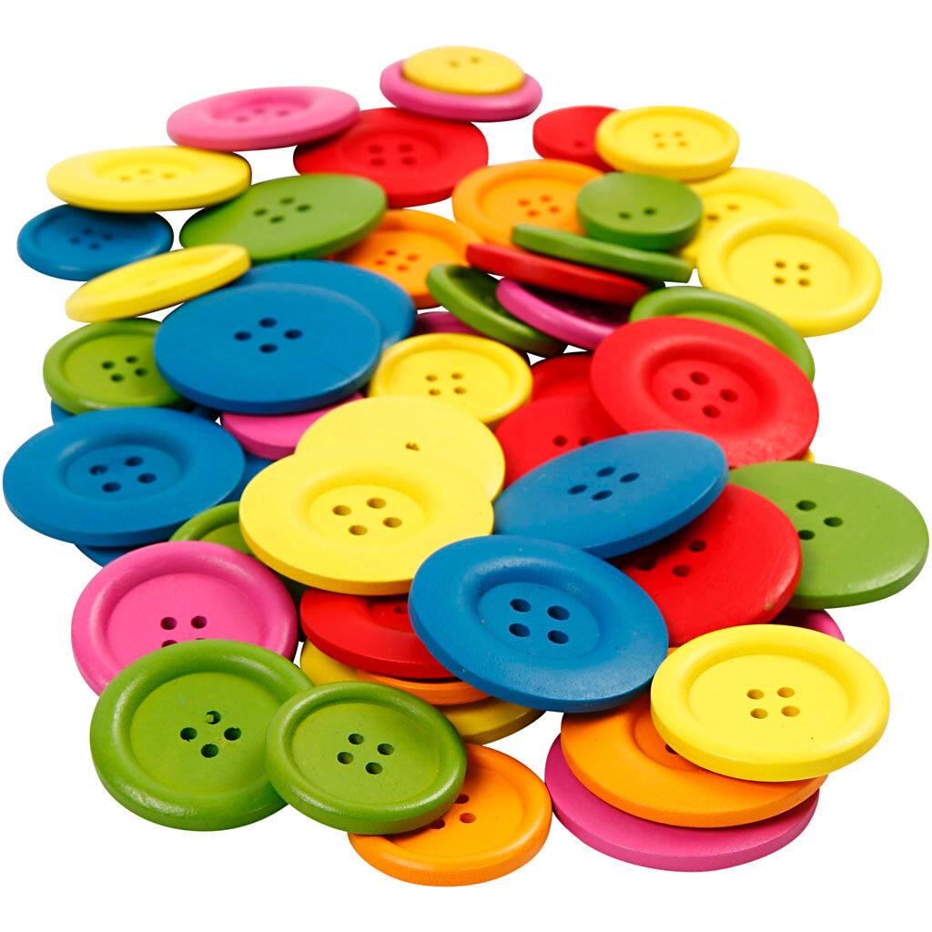 Creativ Company Boutons en bois, d: 25-40 mm, 2-4 trous, couleurs assorties, 144 pièce/ 1 Pq.