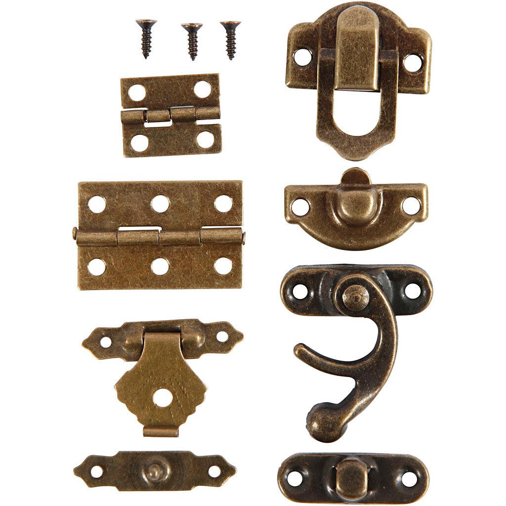 Creativ Company Mini-ferrures, dim. 16x19-19x29,5 mm, or antique, 15 set/ 1 Pq.