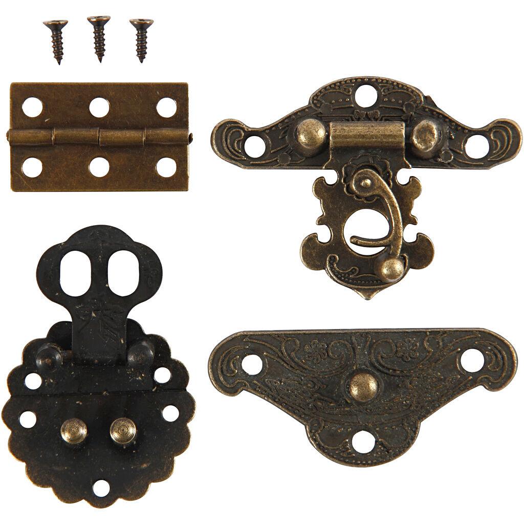 Creativ Company Mini-ferrures, dim. 30-35 mm, or antique, 10 set/ 1 Pq.