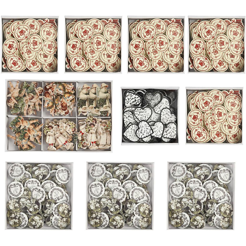 Creativ Company Stickers en bois, dim. 20-50 mm, Le contenu peut varier , 10 Pq./ 1 boîte