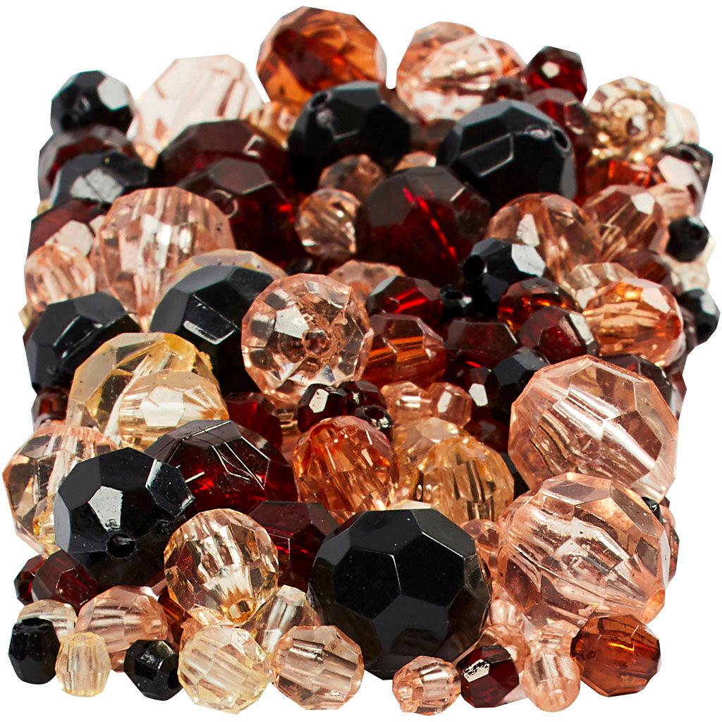 Creativ Company Perles à facettes, dim. 4-12 mm, diamètre intérieur 1-2,5 mm, or, 250 gr/ 1 Pq.