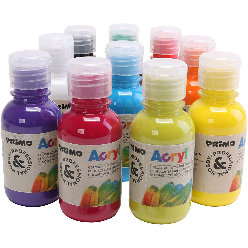 90151715 Peinture acrylique de luxe PRIMO, couleurs assorties, 10x125 ml/ 1 Pq.