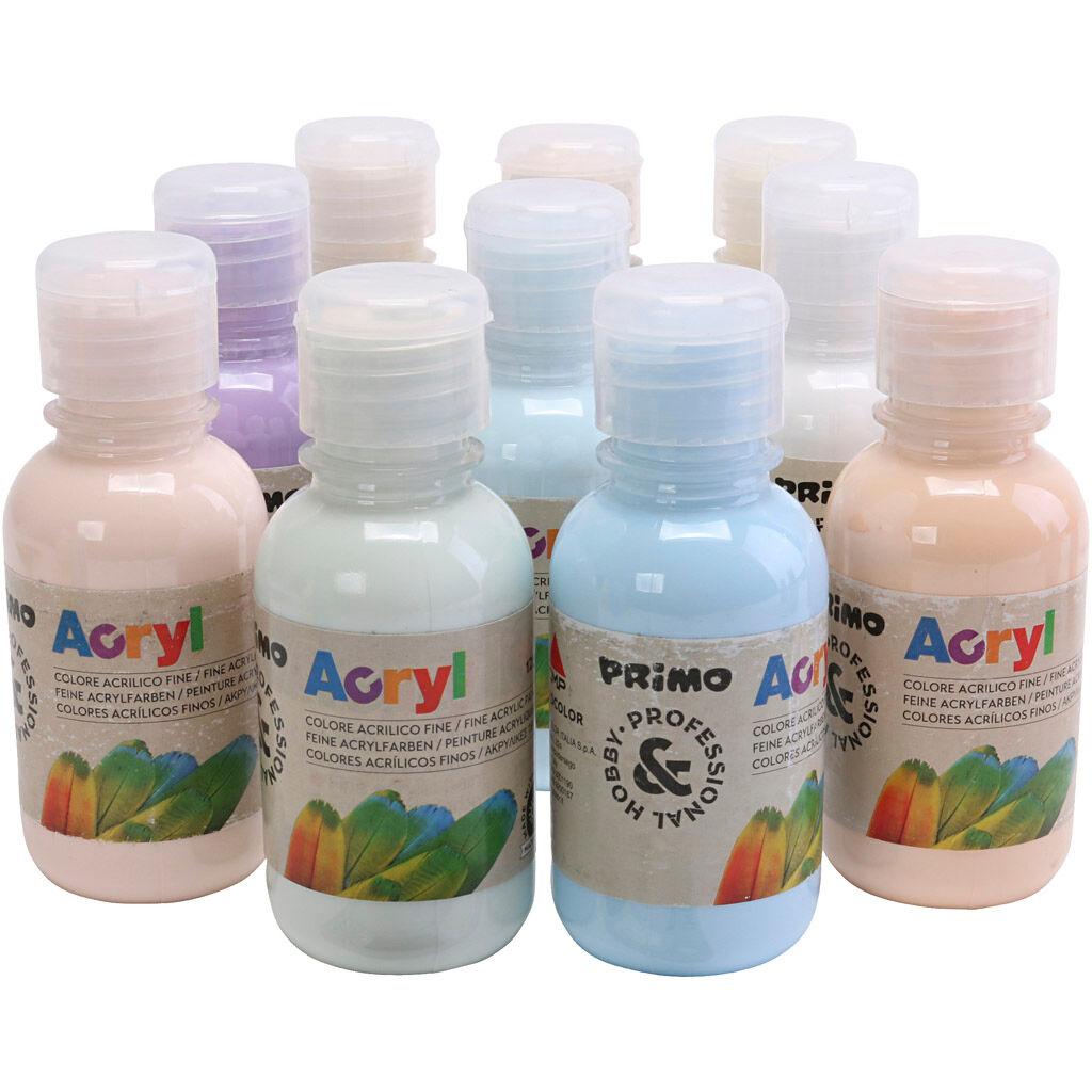 90151715 Peinture acrylique de luxe PRIMO, couleurs pastel, 10x125 ml/ 1 Pq.
