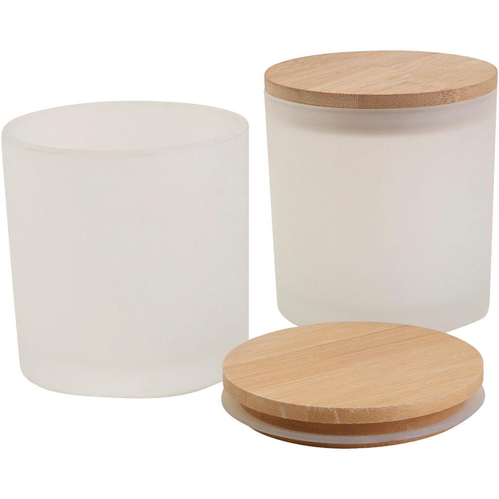 Creativ Company Bocaux en verre avec couvercles en bois, d: 8 cm, 12 pièce/ 1 Pq.
