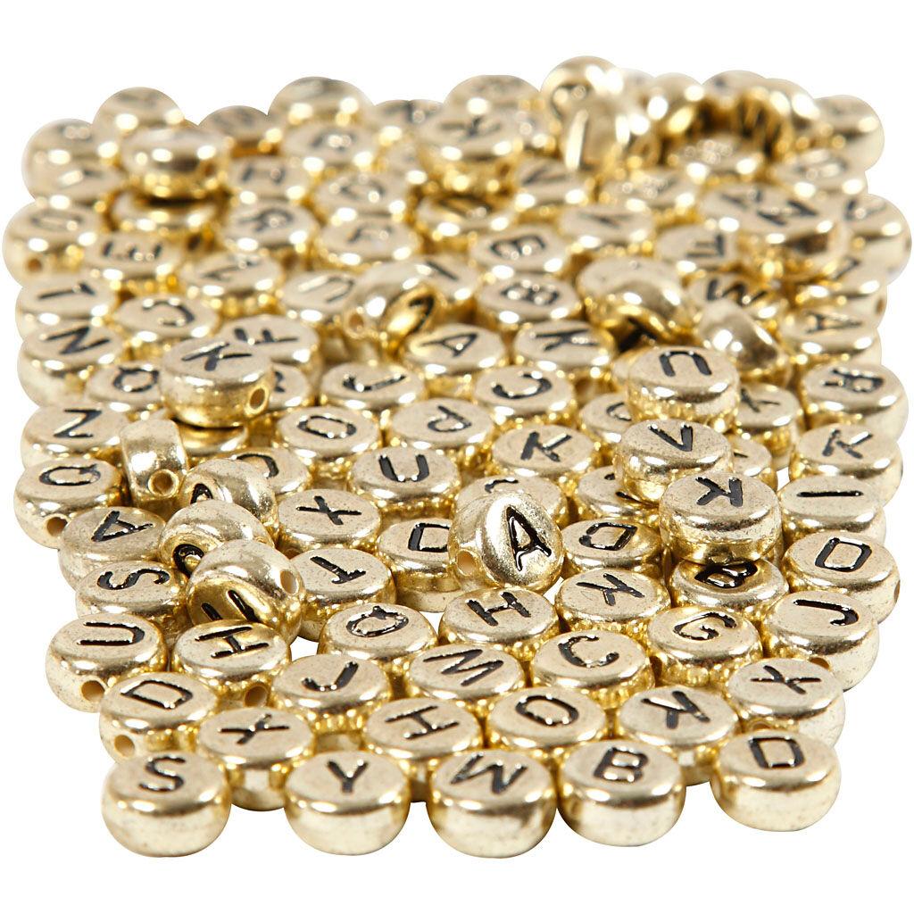 Creativ Company Perles lettres, d: 7 mm, diamètre intérieur 1,2 mm, or, 165 gr/ 1 Pq.