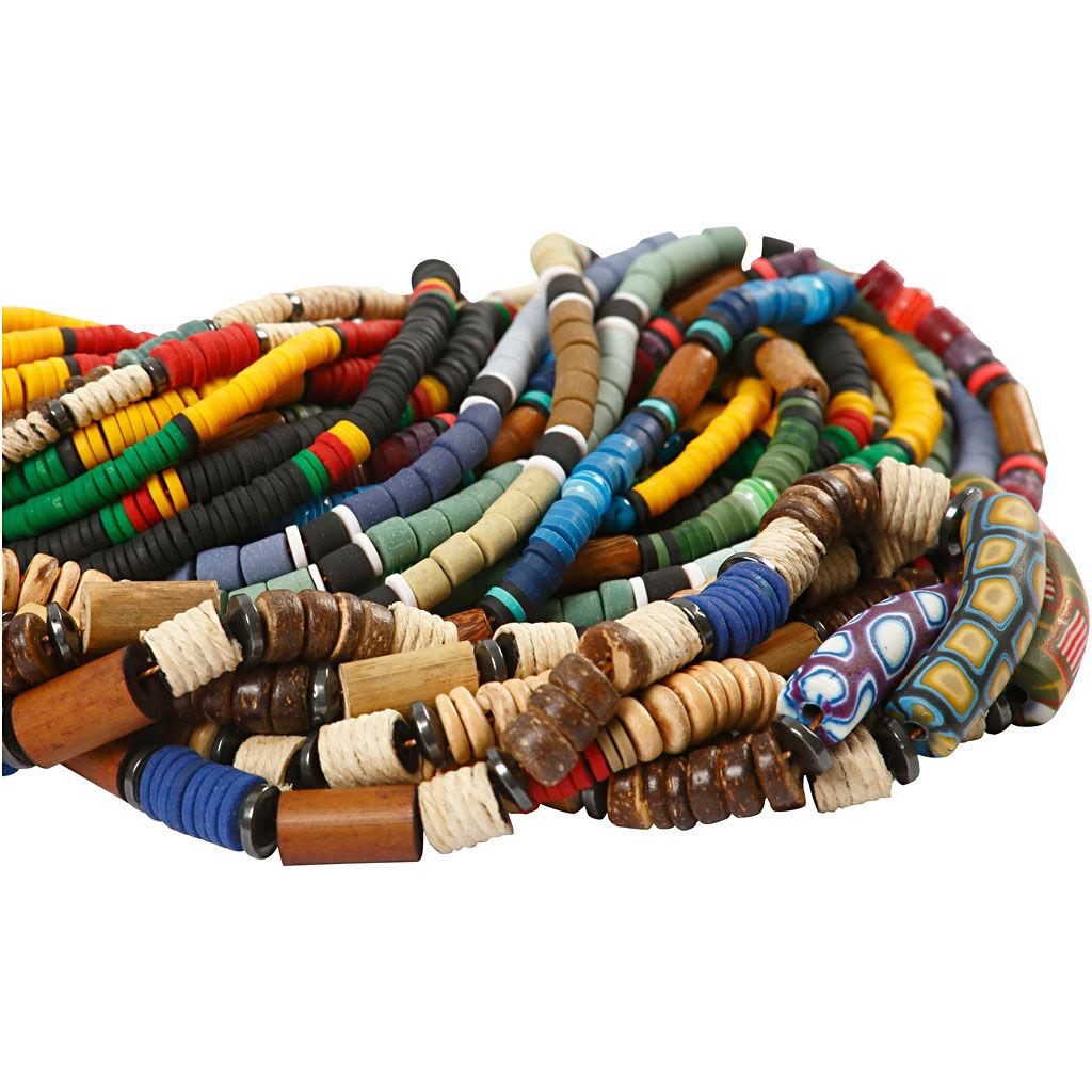 Creativ Company Perles indiennes, d: 5-10 mm, diamètre intérieur 1,2-2 mm, 24x40 cm/ 1 Pq.