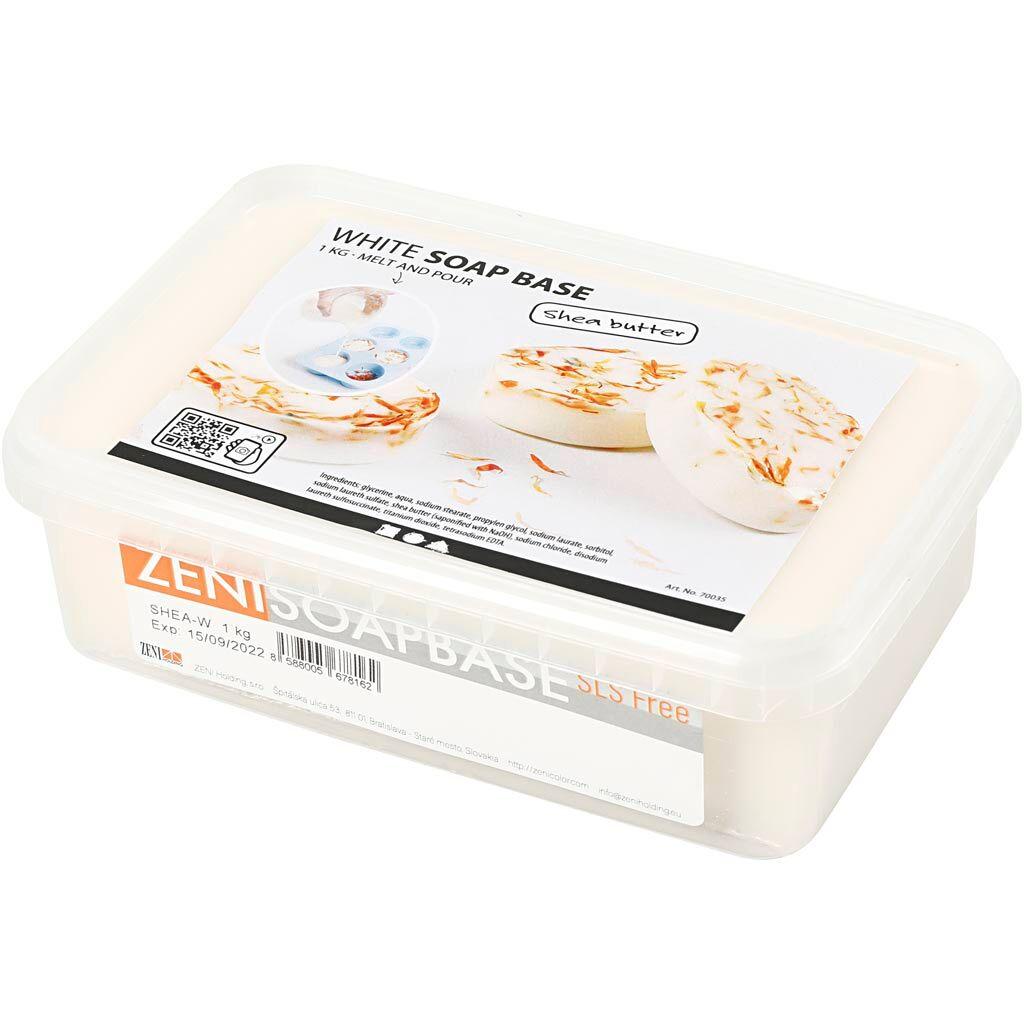 Creativ Company Base de savon au beurre de karité, blanc, 1 kg