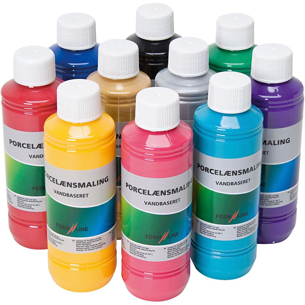 Creativ Company Peinture pour verre et porcelaine, couleurs assorties, 10x250 ml/ 1 Pq.
