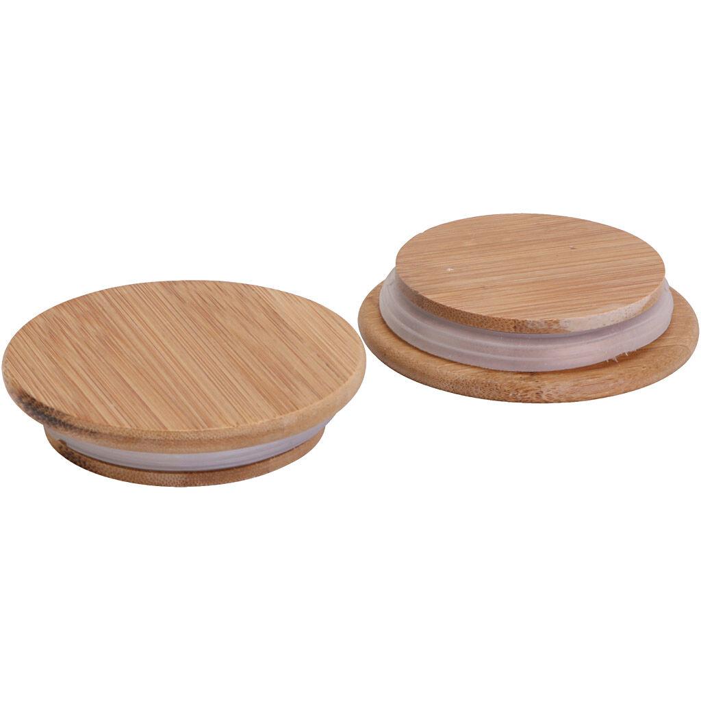 Creativ Company Couvercle en bois avec joint en caoutchouc, d: 9 cm, 12 pièce/ 1 Pq.
