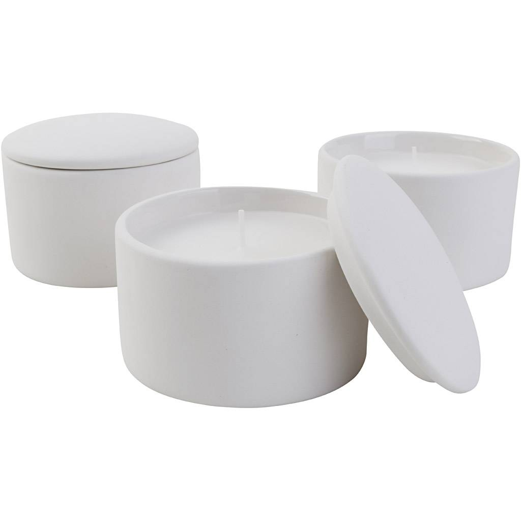 Creativ Company Pot en verre pour bougie (bougie incl.), dim. 9x9x6,7 cm, 12 pièce/ 1 Pq.