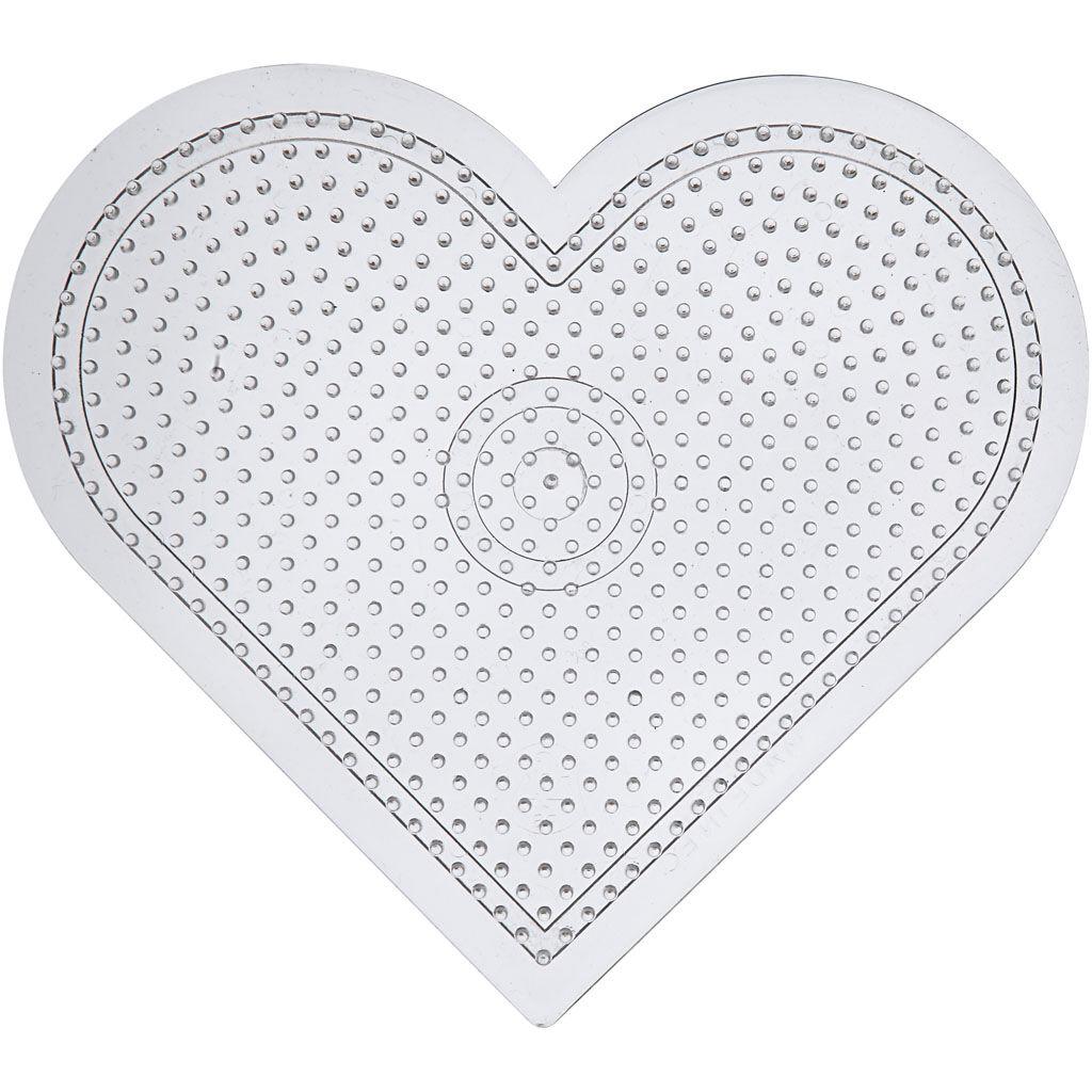 Creativ Company Plaque à picots, large coeur, H: 15 cm, transparent, 10 pièce/ 1 Pq.