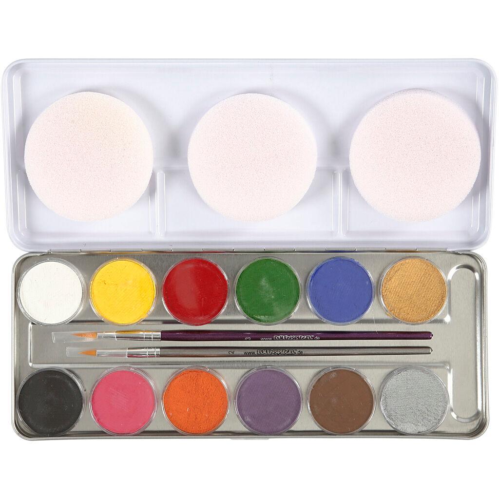 Eulenspiegel Maquillage visage à base d'eau, couleurs assorties, 12 couleur/ 1 set