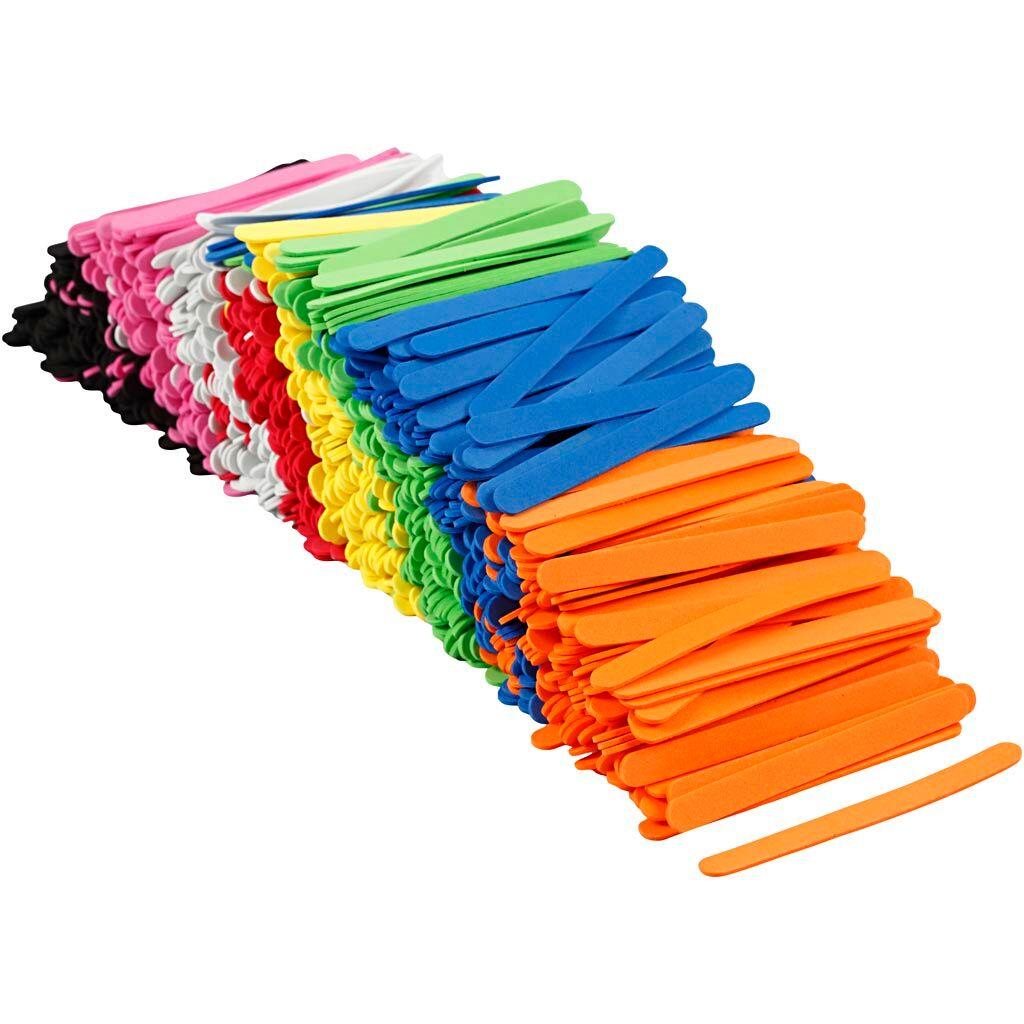 Creativ Company Bâtonnets de glace en mousse EVA, L: 11,5 cm, L: 1 cm, ép. 2 mm, couleurs assorties, 1000 pièce/ 1 Pq.