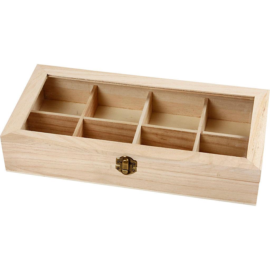 Creativ Company Boîte en bois et couvercle verre, dim. 32x16x6 cm, 1 pièce