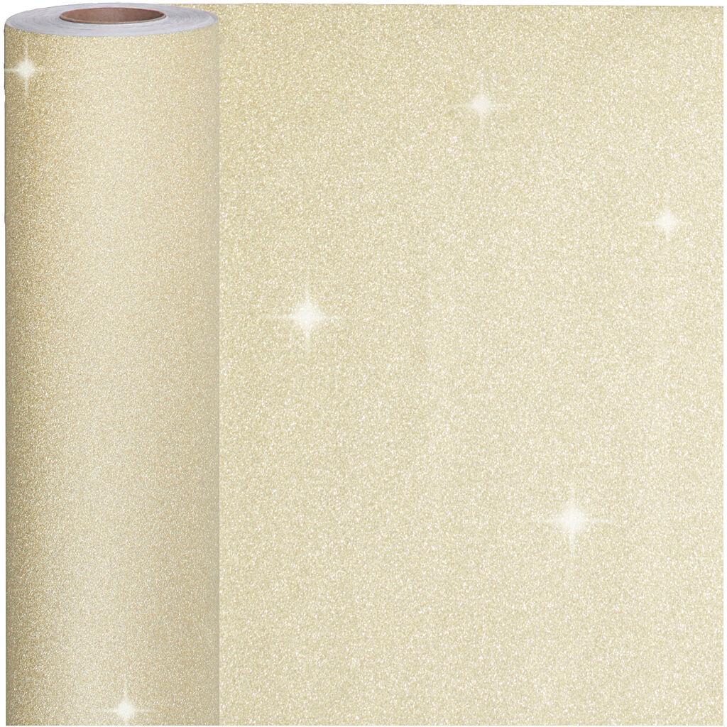 Creativ Company Papier cadeau, L: 50 cm, 80 gr, or, 100 m/ 1 rouleau