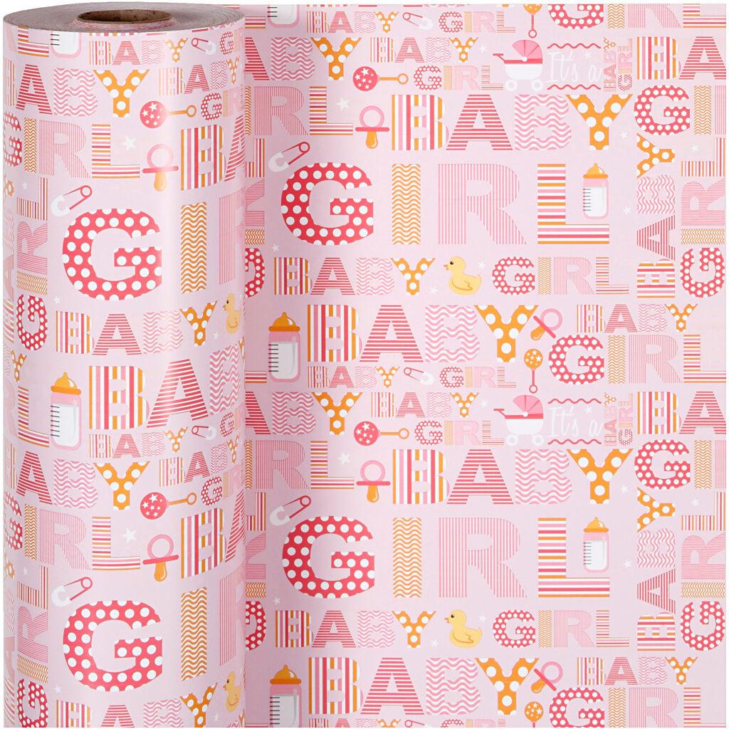 Creativ Company Papier cadeau, baby girl, L: 50 cm, 80 gr, 150 m/ 1 rouleau