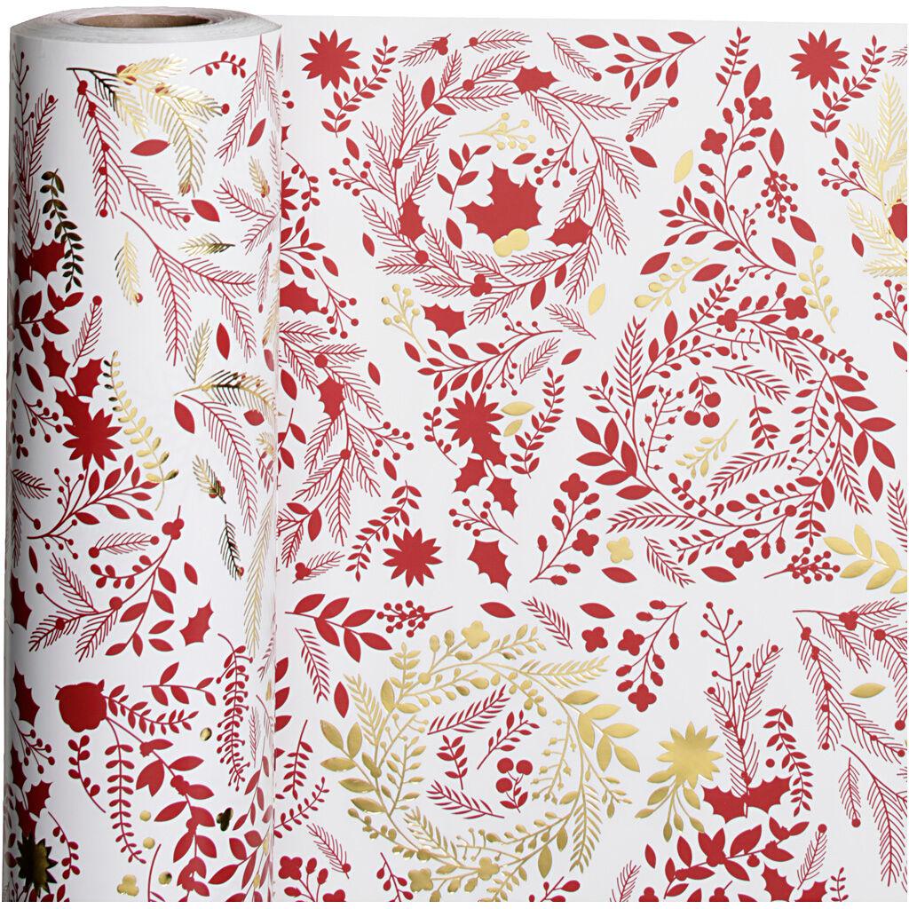 Creativ Company Papier cadeau, Sapins de Noël, L: 50 cm, 80 gr, or, rouge, blanc, 100 m/ 1 rouleau