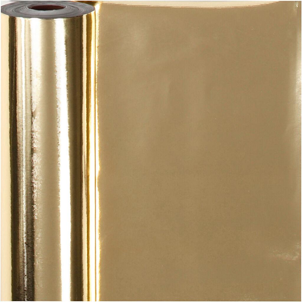 Creativ Company Papier cadeau, L: 50 cm, 65 gr, or, 100 m/ 1 rouleau