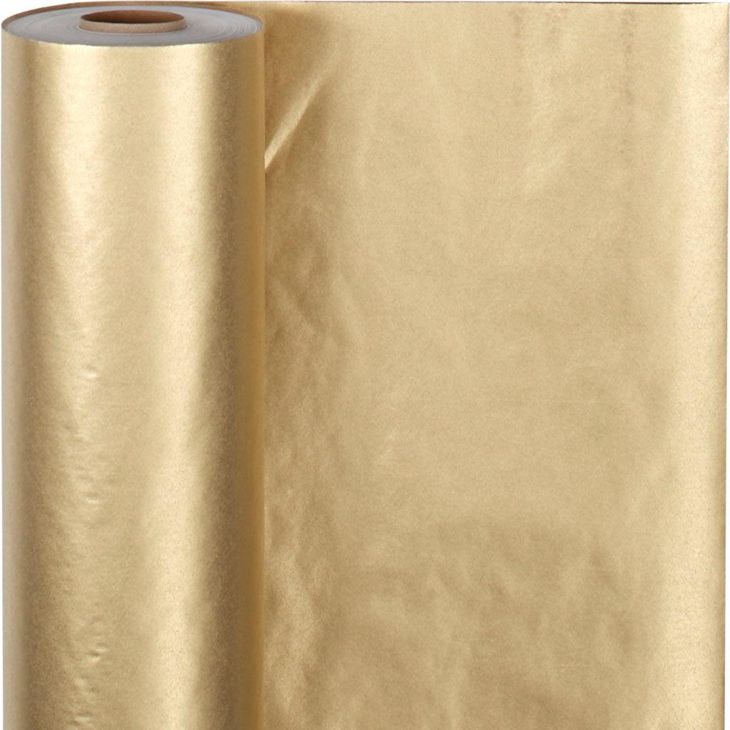 ViviGade Papier cadeau, L: 50 cm, 60 gr, or, 100 m/ 1 rouleau