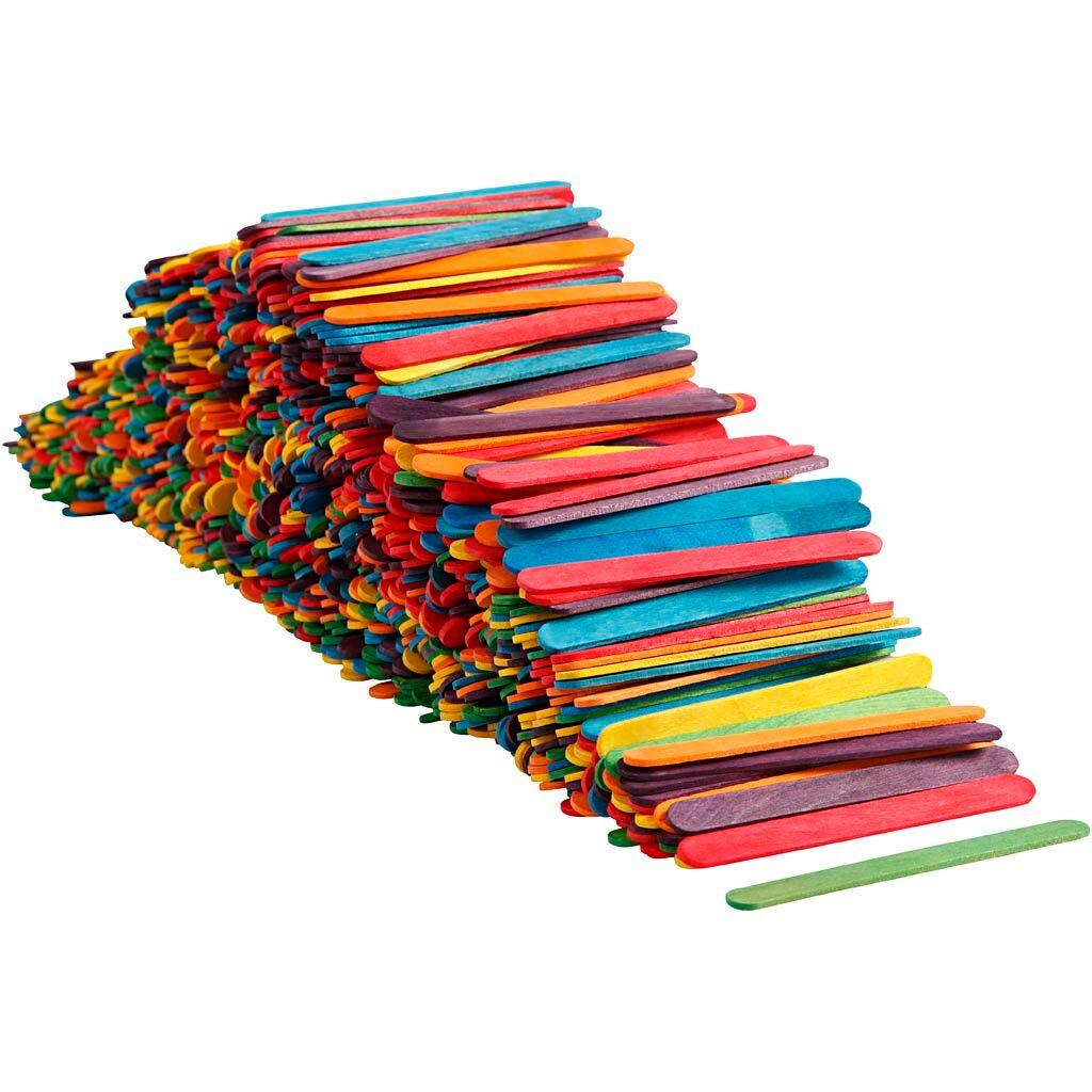 Creativ Company Bâtonnets de glace, L: 11,4 cm, L: 10 mm, couleurs assorties, 1000 pièce/ 1 Pq.