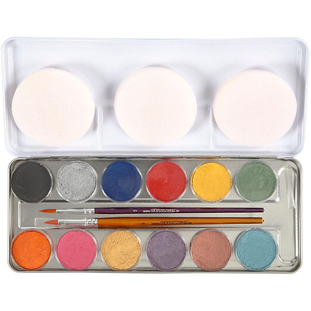Eulenspiegel Maquillage visage à base d'eau, couleurs nacrées, 12 couleur/ 1 set