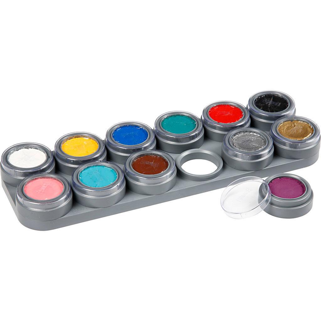 Grimas Palette de maquillage pour visage à base d'eau, couleurs assorties, 12x2,5 ml/ 1 pièce