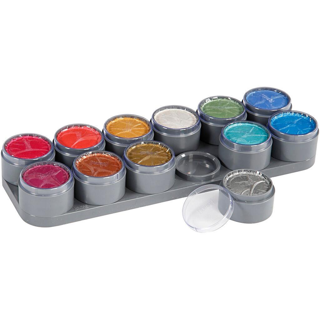 Grimas Palette de maquillage pour visage à base d'eau, couleurs nacrées, 12x15 ml/ 1 pièce