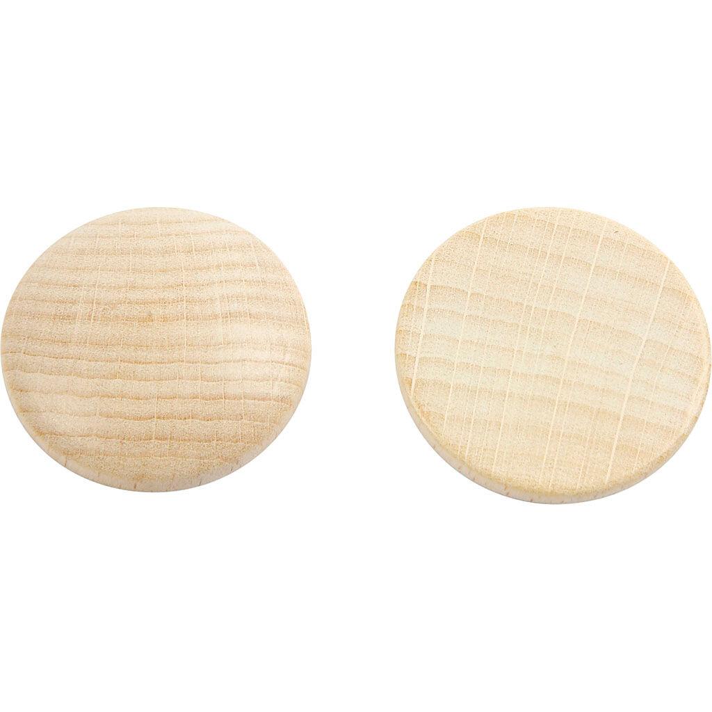 Creativ Company Boutons en bois, d: 30 mm, ép. 6 mm, 150 pièce/ 1 Pq.
