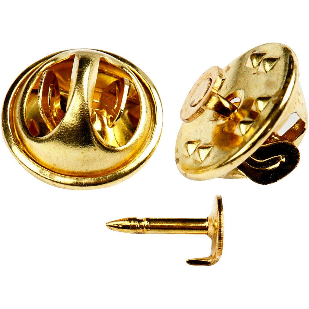 Creativ Company Pins bouton, d: 11,5 mm, doré, 25 pièce/ 1 Pq.