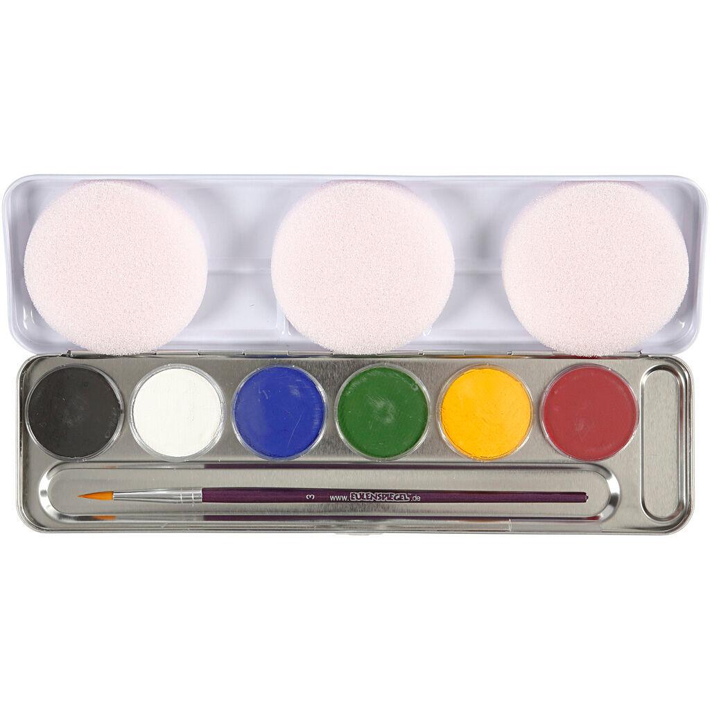 Eulenspiegel Maquillage visage à base d'eau, couleurs assorties, 6 couleur/ 1 set