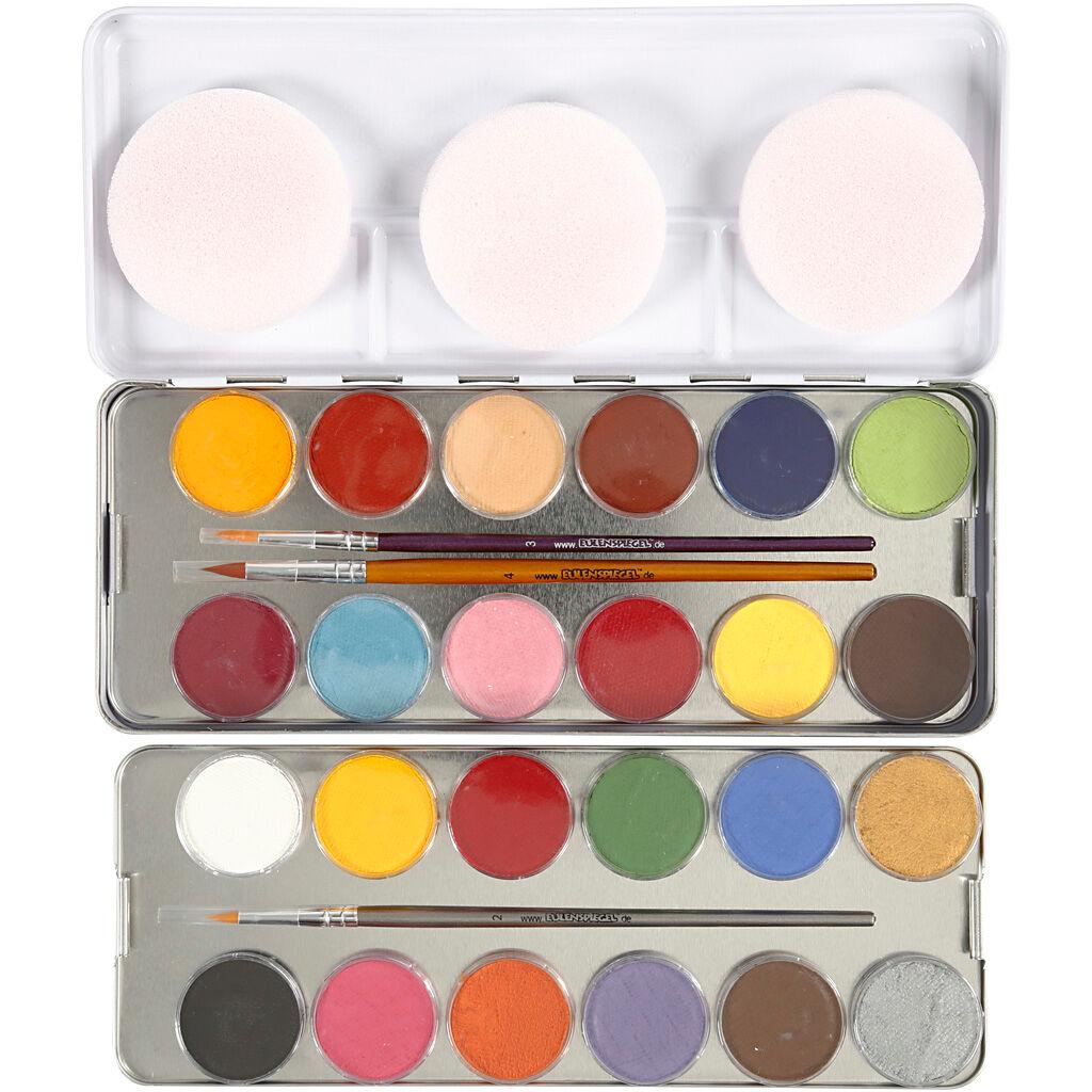 Eulenspiegel Maquillage visage à base d'eau, couleurs assorties, 24 couleur/ 1 set