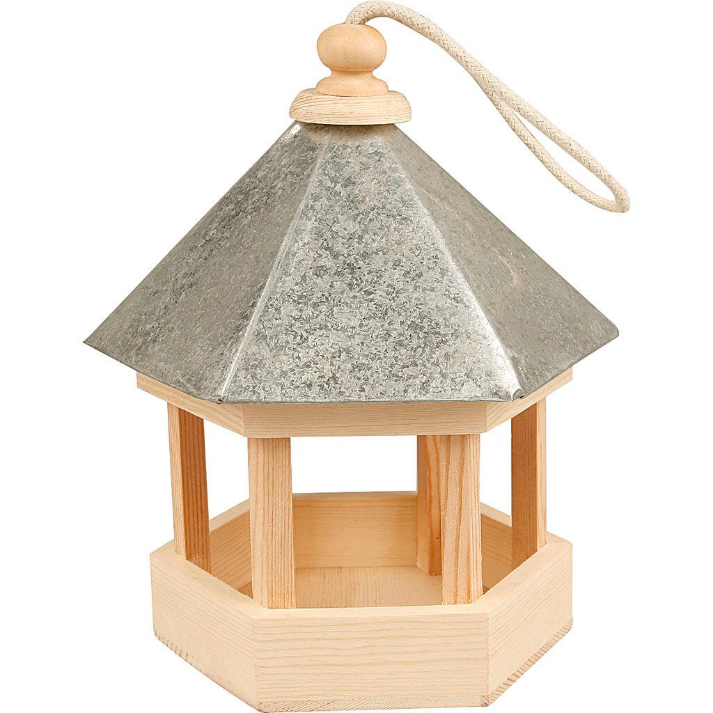 Creativ Company Mangeoire pour oiseaux avec toit en zinc, dim. 22x18x16,5 cm, 1 pièce