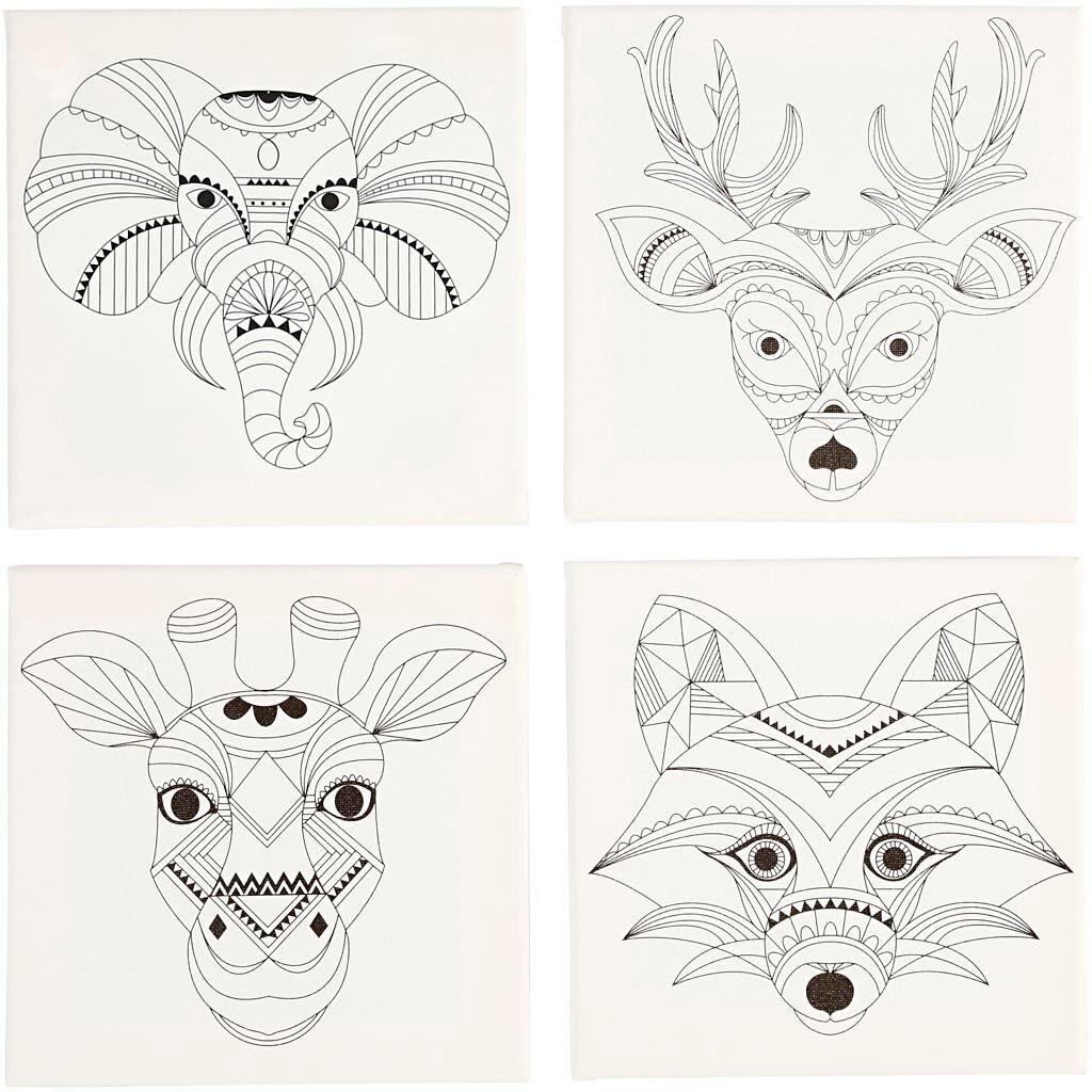 Creativ Company Toile avec impression, animaux, dim. 20x20 cm, 280 gr, blanc, 4 pièce/ 1 Pq.